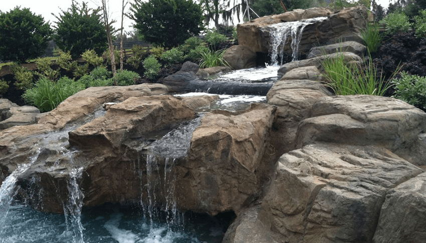 Custom pool waterfalls water features ponds backyard for Waterfall features for ponds